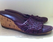 Vintage 1970s Etienne Aigner  Woven Leather and Cork Wedge Heel Sandals size 6