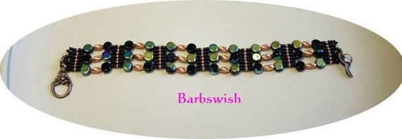 Handwoven Seed Bead and Beaded Bracelet Black and Copper ON SALE