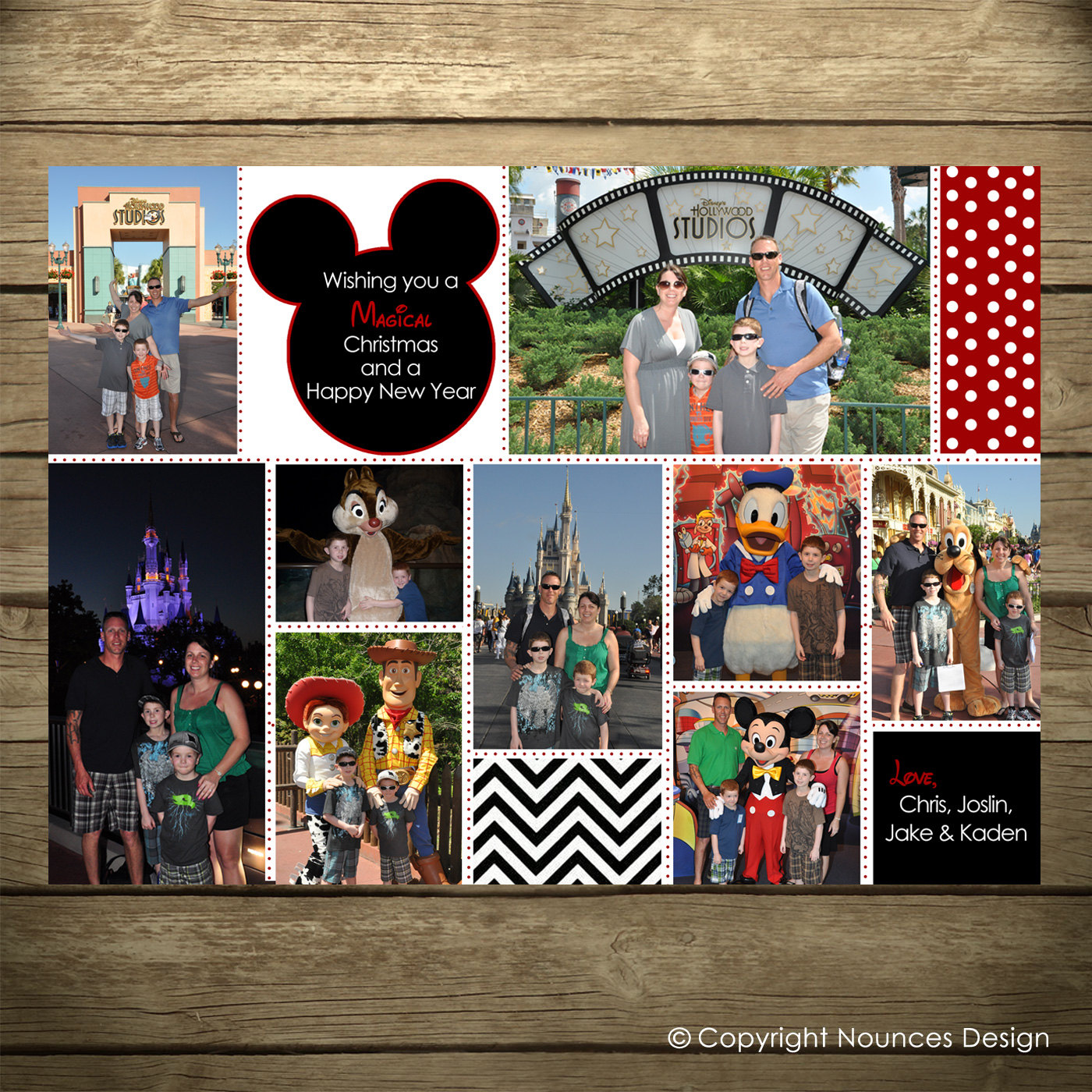 Disney Collage Holiday Card Photo Card Mickey Mouse