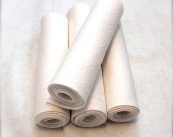 Mini Roll of White Wool Blend Felt