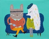 Couple on a couch card - friendship, love blank greeting card