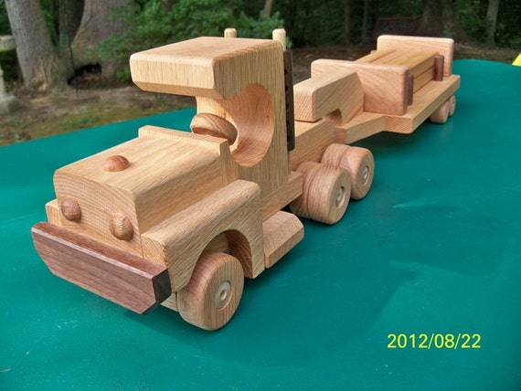 Wooden toys Tractor Lowboy Trailer 6 Logs  oak & Walnut Heirloom Quality Beautifully  finished  natural beeswax