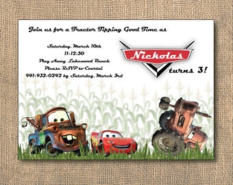 Birthday Party, Car Birthday, Tractor Birthday, Cars Tractor Tippin Birthday Invitation & Return Address Labels, Tractor Tipping, PRINTABLE