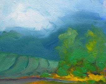 Valley Morning 12 original abstract landscape oil painting