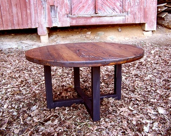 Free Shipping! Reclaimed wormy chestnut round coffee table with industrial metal base