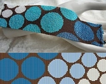 2 Patterns for 1 Price - Progressive Blue and Gold Circles Cuff Bracelets - Loom or 3 Drop Odd Peyote Bead Pattern -