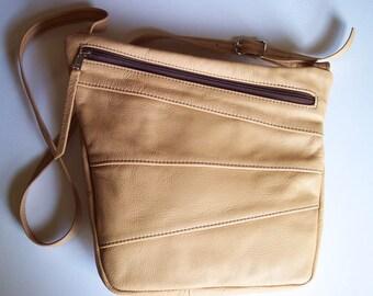 Leather Purse Handbag - Light Tan - Art Deco Style - Cross Body Style - Large