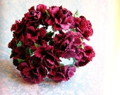 Merlot Peonies Vintage style Millinery Flower Bouquet - for decorating, gift wrapping, weddings, party supply, holiday