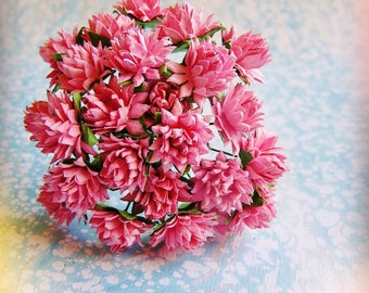Strawberry Pink Dahlias Vintage style Millinery Flower Bouquet - for decorating, gift wrapping, weddings, party supply, holiday