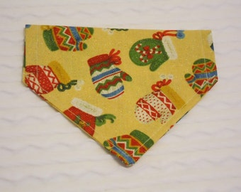 Dog Bandana with Mittens in Sizes XS to XL in Over the Dog Collar Style