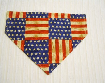 Dog Bandana in Stars & Stripes Sizes S to L in Over Dog Collar Style