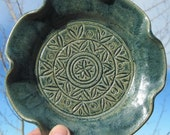Flower Shaped Serving Plate - Handmade and Carved Pottery