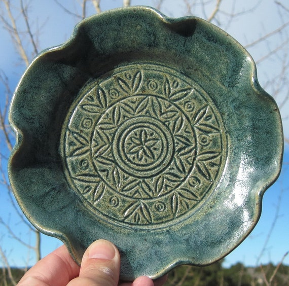 Flower shaped serving plate handmade and carved pottery