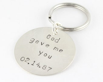God Gave Me You Keychain Key Chain - Personalized Custom Key Ring - Sterling Silver Keychain - Father's Day Gift - Gift for Dad Grandpa