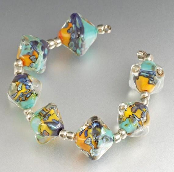 Handmade Lampwork Beads - purple, turquoise, yellow orange, silver glass - Graffito