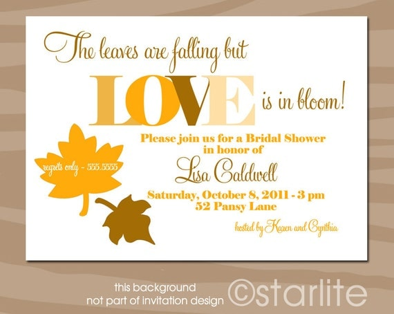 fall themed bridal shower invitations 28 images items similar to