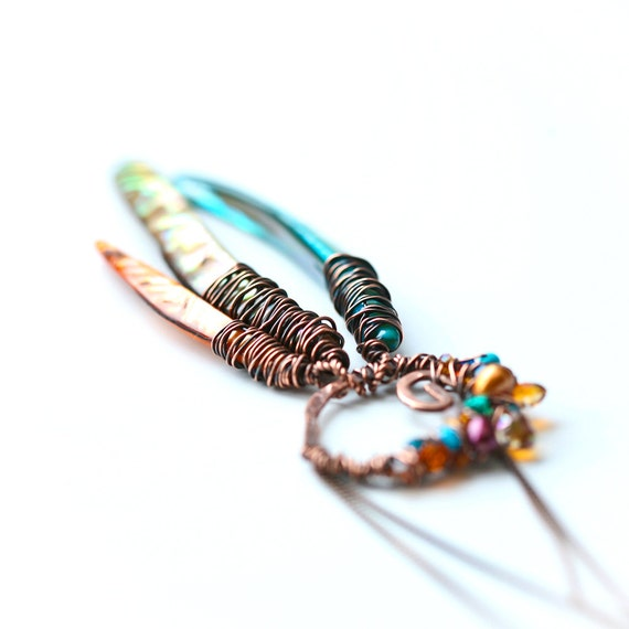 Indian Summer Dream Catcher - Copper Wrapped Free Form Shell, Pearl and Crystals Necklace