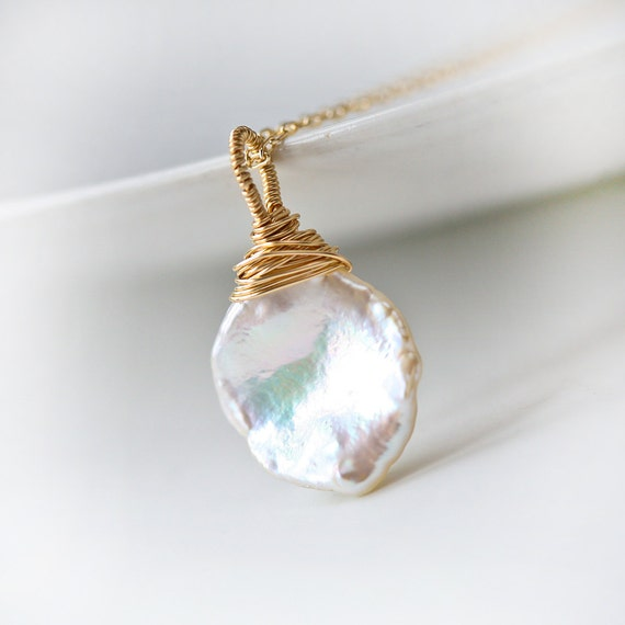 Simple White Keishi Pearl Gold Filled Wire Wrapped Necklace - Wedding Bridal