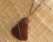 Sea Glass Necklace, OOAK, Copper Wire-Wrapped Brown Amber on an Oxidized Copper Chain