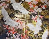 Vintage Japanese Kimono Uchikake Silk Back Panel with Cranes, Plum Blossom Branches, Chrysanthemum and Pine