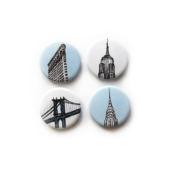 NYC illustration pinback buttons