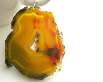 Long Butterscotch Agate Necklace, Druzy Stone Pendant, Quartz Geode Jewelry