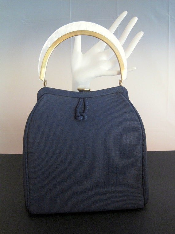 Sweet 50's Navy Blue Purse with White Pearllized handle and Matching Clasp by Edwards Bags LTD