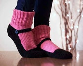 Knit Slipper Sock Adult Mary Jane Slippers Sox Raspberry Pink House Slippers Womens Slippers Home Slippers Black House Shoes Home Shoes