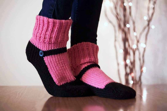 Knitting Pattern For Slippers That Look Like Sneakers : Knit Slipper Sock Adult Mary Jane Slippers Sox Raspberry Pink