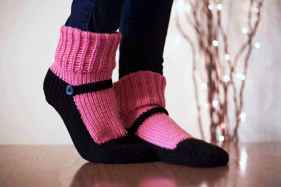 Knit Slipper Sock Adult Mary Jane Slippers Sox Raspberry Pink