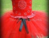 Girls Western Cowgirl Bandanna Tutu and Corset Dress Set for Halloween Pageant Birthday Christmas  Size 0-10y
