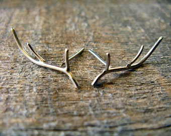 Sterling Silver Antler Earrings