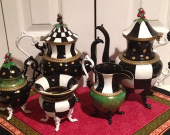 Painted Tea Set // Painted Silver Tea Set // Whimsical Painted Tea Set // Custom Painted Tea Set