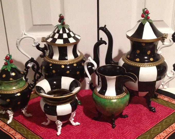 Painted Tea Set // Painted Silver Tea Set // Whimsical Painted Tea Set // Custom Painted Tea Set