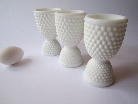 Vintage Westmoreland Milk Glass American Hobnail Double End Egg Cup Set of Three