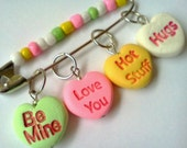 Stitch markers- Conversation Heart Stitch Markers /for knitting Needles / Candy