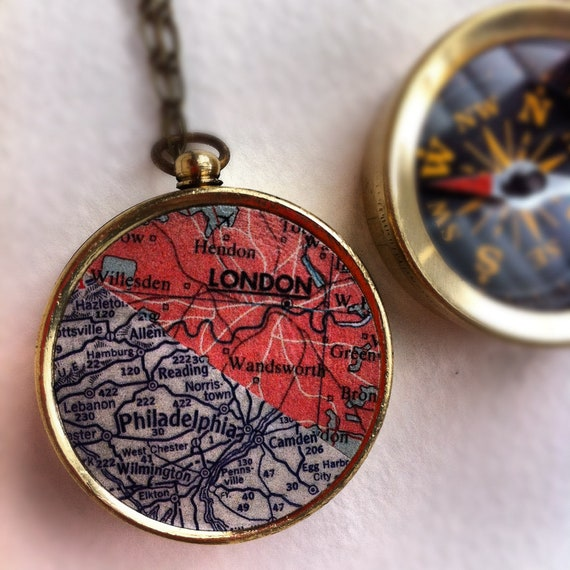 Personalized map necklace, Custom Two Maps one Compass, choose two cities, personalized his hers anniversary