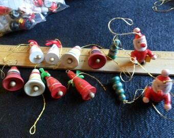 Vintage miniature handpainted wood ornaments - dozen