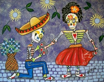 """Frida Kahlo and Diego Rivera """"The Proposal"""" 8"""" x10"""" Day Of The Dead Art Print Poster Mexican Folk Artist J Ellison Other sizes available"""