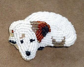 IRISH JACK RUSSELL Terrier Keepsake beaded dog pin pendant/ Ready to Ship