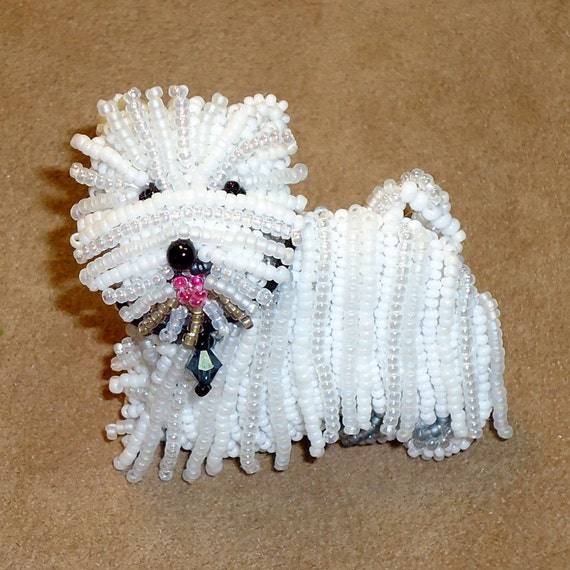 WESTIE beaded West Highland White Terrier pin/ brooch (Ready to ship)