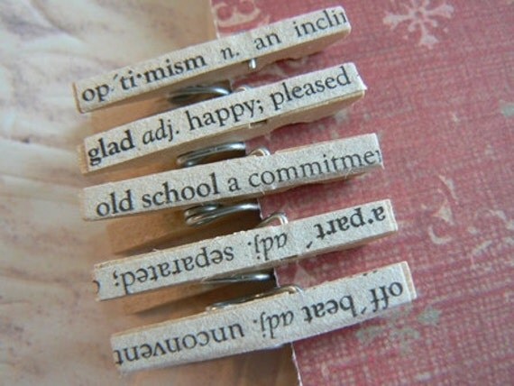 5 Teenie Tiny Vintage Book Page Decoupage Clothespins