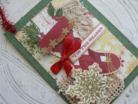 TIS THE SEASON Holiday Decoration or Card with Fabric
