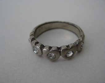 Heart Rhinestone Ring Silver Vintage Size 7 1/2