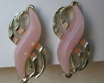 Pink Modern Earrings Gold Screw Vintage Thermoset
