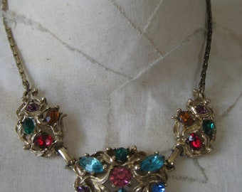 Colorful Rhinestone Necklace Pink Red Blue Green Gold Vintage Filigree