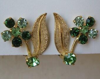Flower Green Earrings Clip Gold Rhinestone Vintage