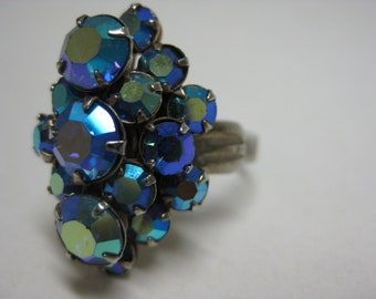 Aurora Blue Green Violet Ring Silver Rhinestone Cocktail Vintage Adjustable