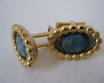 Blue Gray Gold Cuff Links Vintage