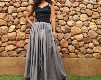 Hope Floats...Sweet full maxi skirt Gray mix silk (one size fits S-L)1189